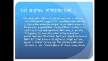 Muslims Sue Oklahoma for Banning Sharia Law  (The Evening Prayer 12Nov10)