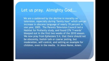 Profanity Multiplies on Primetime TV (The Evening Prayer - 24 Nov 10)