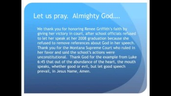 Montana Supreme Court: Valedictorian Can Thank Jesus (The Evening Prayer - 28 Nov 10)