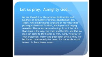 Tim Tebow and 8-Year-Old Rhema Marvanne Stand for Christ (The Evening Prayer - 06 Jan 11)
