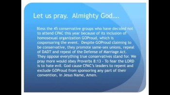 The Evening Prayer - 18 Jan 11 - 45 Organizations Boycott pro-homosexual CPAC
