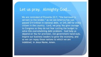 The Evening Prayer - 26 Jan 11 - Record $14 Trillion-Plus Debt Weighs on Congress