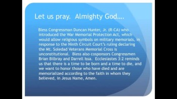 The Evening Prayer - 27 Jan 11 - Duncan Hunter Introduces War Memorial Protection Act