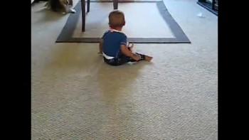 Hysterical baby chases dog!