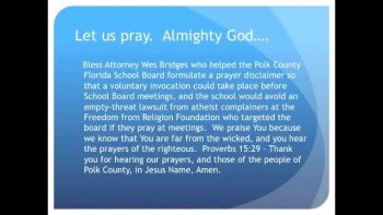The Evening Prayer - 15 FEB 11 - Florida School Board Allows Prayer with Disclaimer