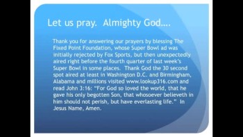 The Evening Prayer - 17 Feb 11 - Fox Repents, Airs Jesus' Super Bowl Ad