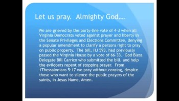 The Evening Prayer - 23 Feb 11 - Virginia: Senate Rejects Prayer Amendment