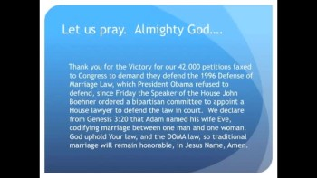 The Evening Prayer - 06 Mar 11 - Victory! Congress Appoints Commission to Defend Marriage