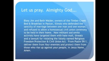The Evening Prayer - 11 Mar 11 - Homosexuals Sue Christian B & B Owners in Illinois
