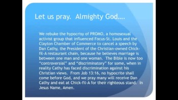 The Evening Prayer - 22 Mar 11 - Homosexuals protest Christian Owner of Chick-fil-A Restaurant