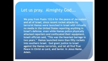 The Evening Prayer - 02 Apr 11 - Hamas Rocket Attacks on Israel Go Practically Unnoticed in U.S.