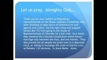 The Evening Prayer - 14 Apr 11 - Colorado House Rejects Homosexual Civil-Unions Bill