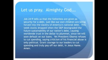 The Evening Prayer - 28 Apr 11 - S & P Downgrades U.S. Debt Outlook