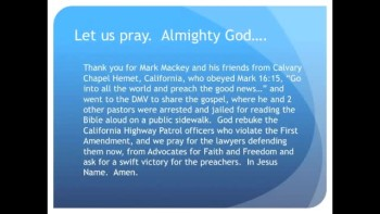 The Evening Prayer - 08 May 11 - 3 American Pastors Jailed for Public Bible Reading