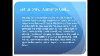 The Evening Prayer - 15 May 11 - Appeals Court May Ban Prayer in Jesus Name