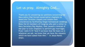 The Evening Prayer - 16 May 11 - Homosexual Weddings Halted in Navy Chapels, For Now