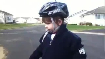 Kid gives greatest inspirational speech after riding a bike for first time