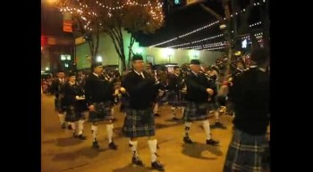 Christmas parade Kilted Bagpipers