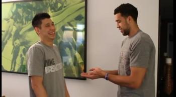 Very cool! NBA Stars Jeremy Lin and Landry Fields Secret Handshake