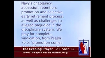The Evening Prayer  - 27 Mar 12 - Evangelical Chaplains win right to sue Navy for Discrimination
