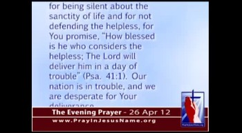The Evening Prayer - 26 Apr 12 - Dr. Phil Highlights Parents Wanting to Kill Their Disabled Child