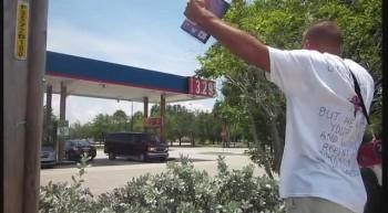 Open-air preaching Florida gas station