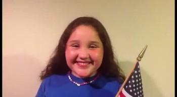 Kimi Sturgeon sings the Star-Spangled Banner