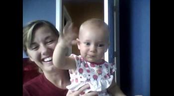 Super cute baby waving hello:)