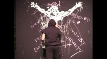 A Painting Performance of The Crucifixion That Will Give You Chills!
