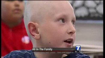 Boy Shaves Head to Support Family Member