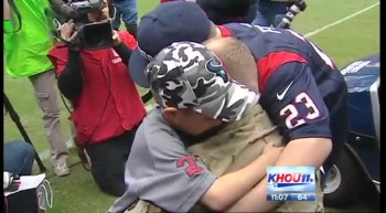 Army Officer Surprise Family at Football Game