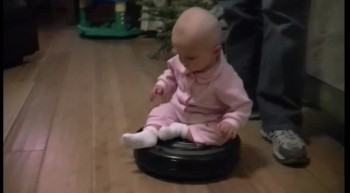 Baby Loves Riding the Roomba Vacuum!