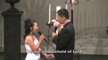 Bride and Groom Sweetly Sing Their Vows - A Household of Faith