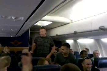 A U.S. Marine Sings 'Home' by Michael Buble on a Plane - SO TOUCHING!