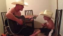 Cowboy and His Baby Buckaroo Play a Country Song Together - SO CUTE!