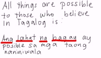 Tagalog - All Things Are Possible To Those Who Believe
