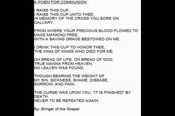 Communion, Communion Poem by Sister Lia The Cross of Calvary