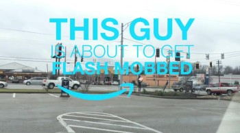 Strangers Surprise a Dancing Sign Guy with A Flash Mob. . .and Money for College!