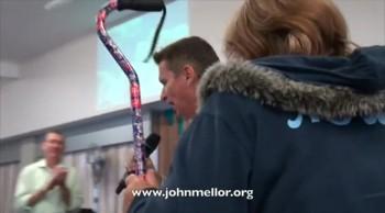 Painful spine and knees healed & no more walking stick - John Mellor Australian Healing Evangelist