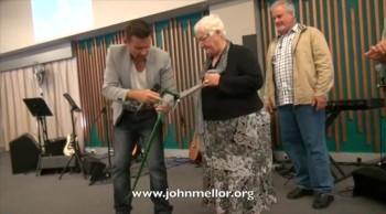 Painful hip and knees healed & no more walking stick - John Mellor Australian Healing Evangelist