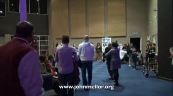 Brain damaged cripple walks out of wheelchair - John Mellor Healing Evangelist