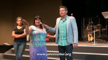 Food allergies healed after 20 years & lady eats chocolate & cakes - John Mellor Healing Evangelist