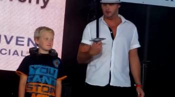 Priceless reaction from kid: Sword Thru Neck Illusion