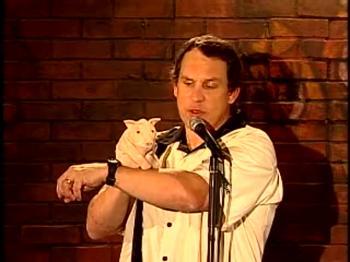 Taylor Mason and his puppet Paquito on Bananas Comedy