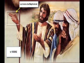 EL JESUS DE LA WATCHTOWER CON LA MANO DE BAFOMET