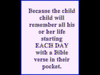 Seven reasons children need to start each day with a Bible Verse in their pocket