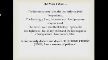 Through Christ Jesus I am a Woman of Patience