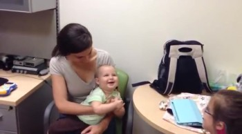 Baby's Sweet Reaction to Hearing Parents for the First Time