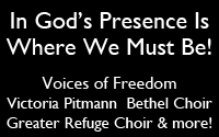 Voices of Freedom, Victoria Pittman, Bethel Choir, Greater Refuge Choir, African United Methodist Choir, Luteran Church Choir, Trinity Music Associates