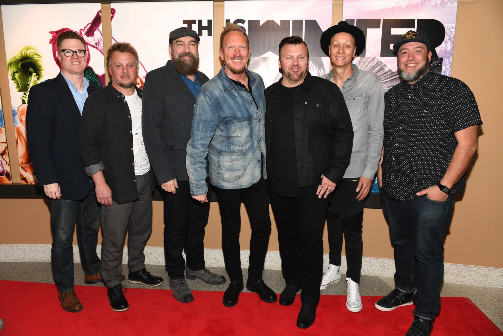 "FRANKLIN, TENNESSEE - APRIL 12:  (L-R) Winter Jam Producer Troy VanLiere, Recording Artists Jack Pumphrey, Billy Goodwin, Eddie Carswell, Russ Lee and Rico Thomas of NewSong and Film Director Nate Carrona arrive at the ""This Is Winter Jam "" Nashville Red Carpet Premiere on April 12, 2016 in Franklin, Tennessee.  (Photo by Jason Davis/Getty Images for Winter Jam Tour Spectacular)"